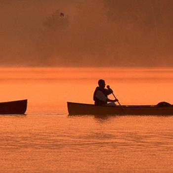 Two canoes with 2 people in each one, paddling acorss a lake at sunset
